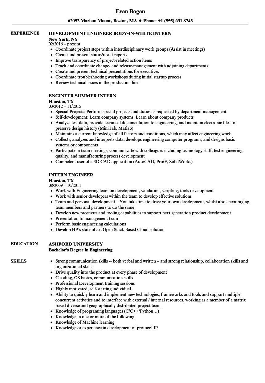 intern engineer resume samples  velvet jobs