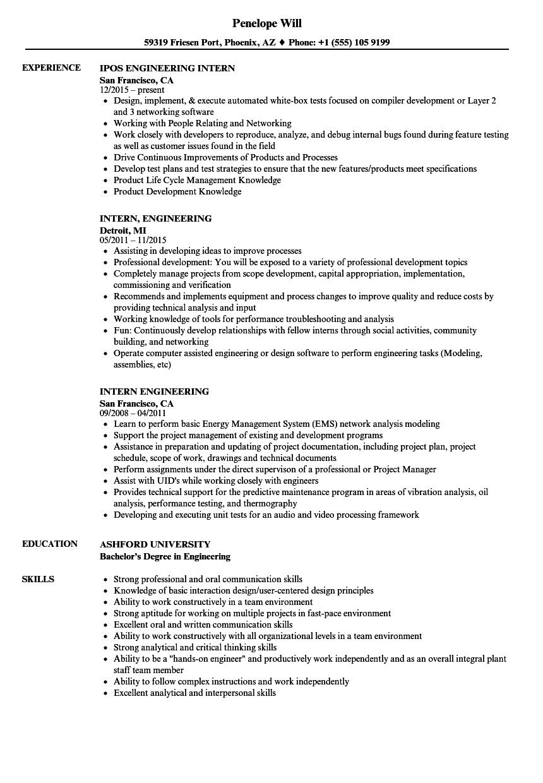 intern engineering resume samples  velvet jobs