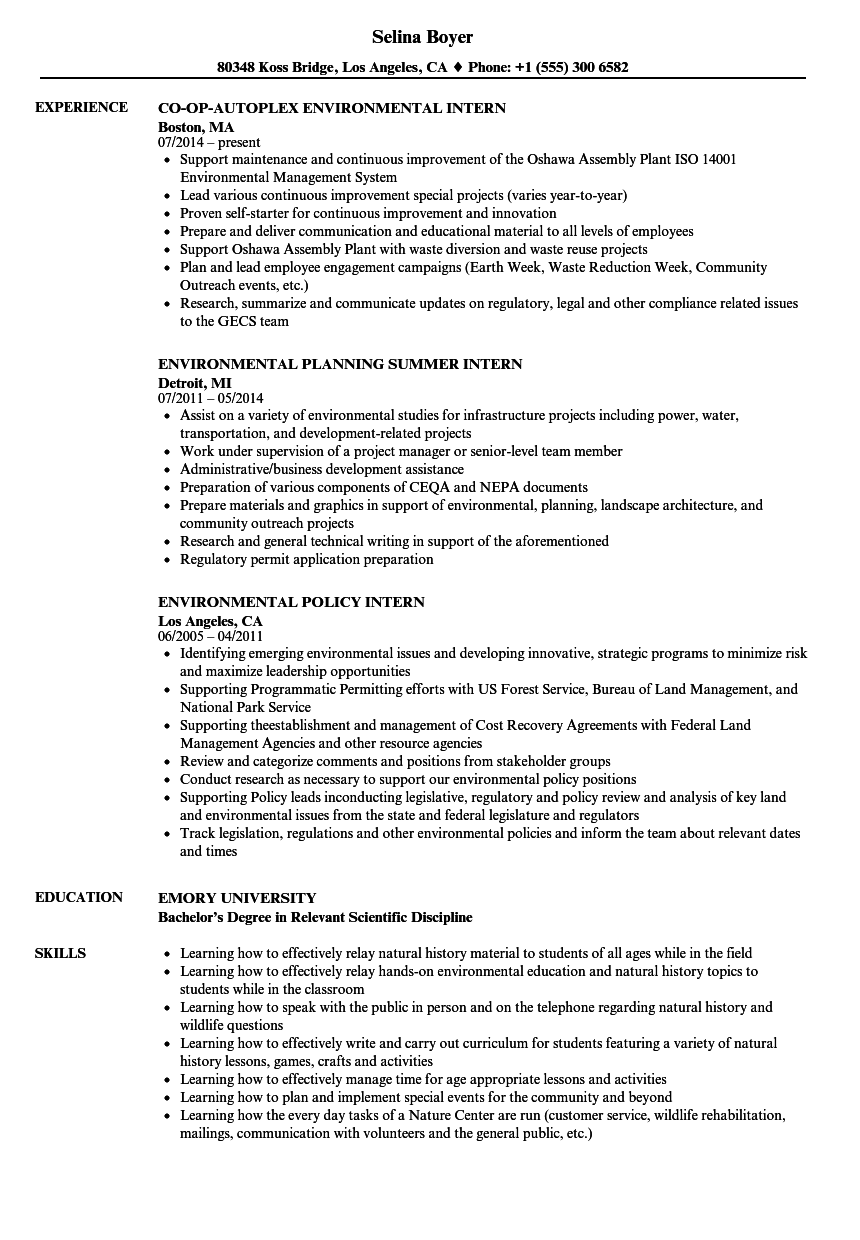 Intern, Environmental Resume Samples | Velvet Jobs