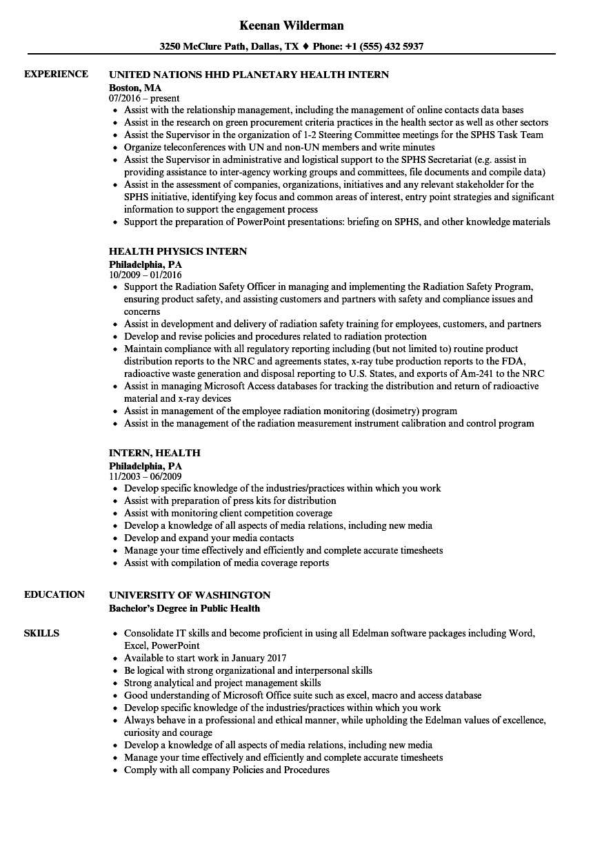 intern  health resume samples