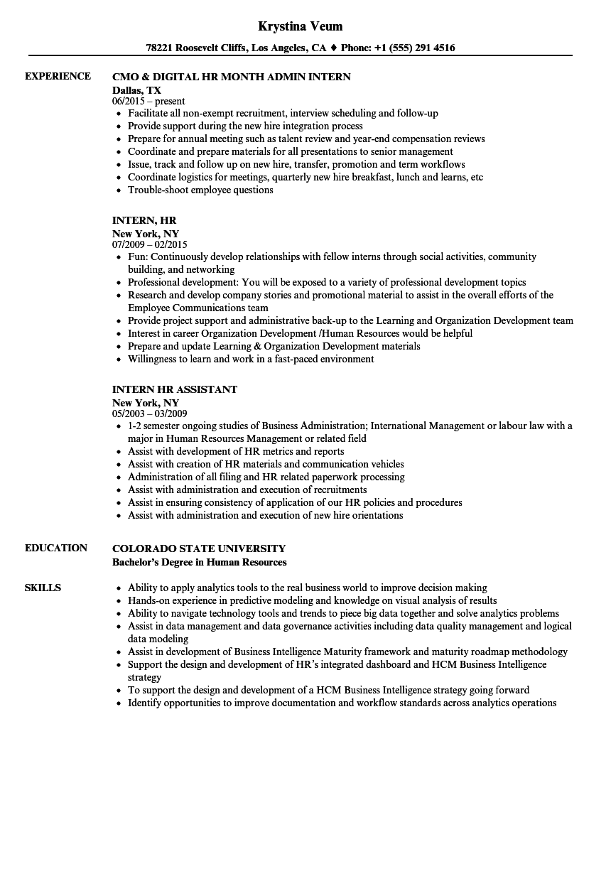 intern  hr resume samples