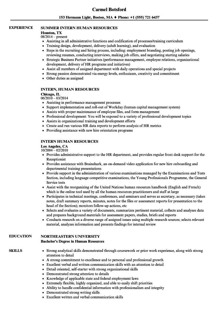 intern  human resources resume samples