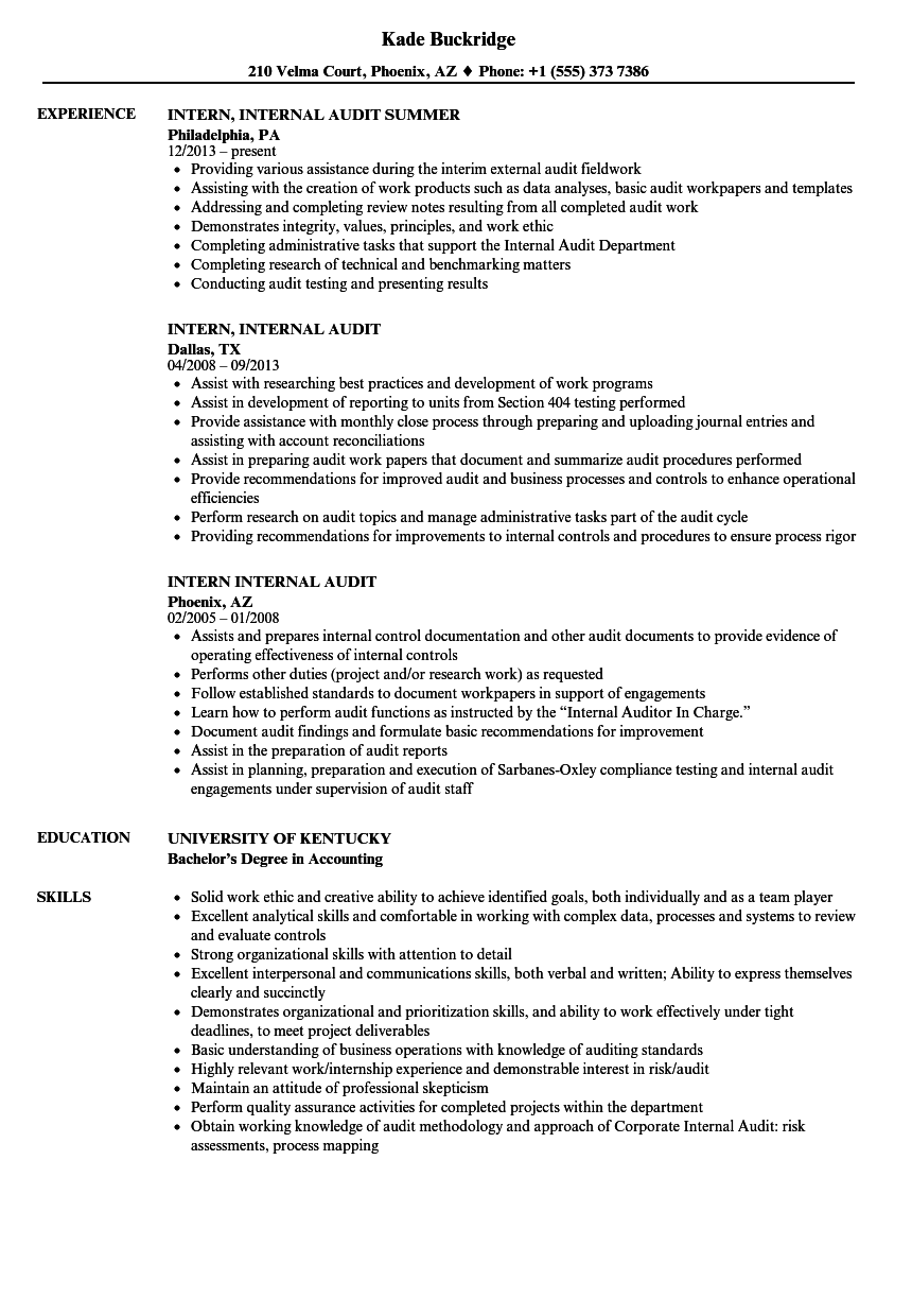 intern internal audit resume samples