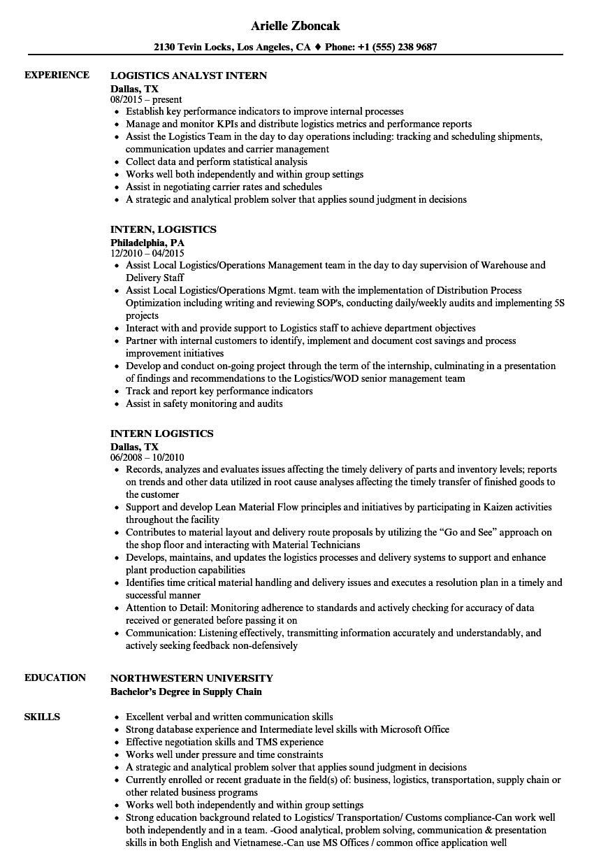 intern logistics resume samples