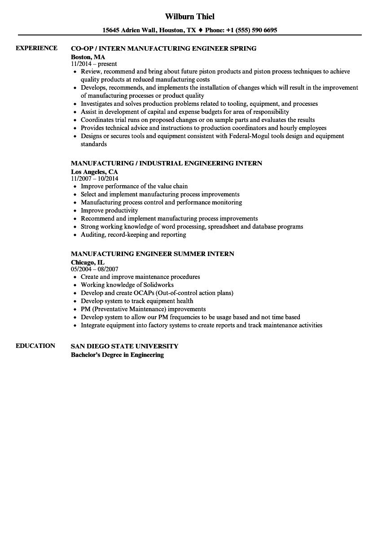 Intern, Manufacturing Resume Samples   Velvet Jobs