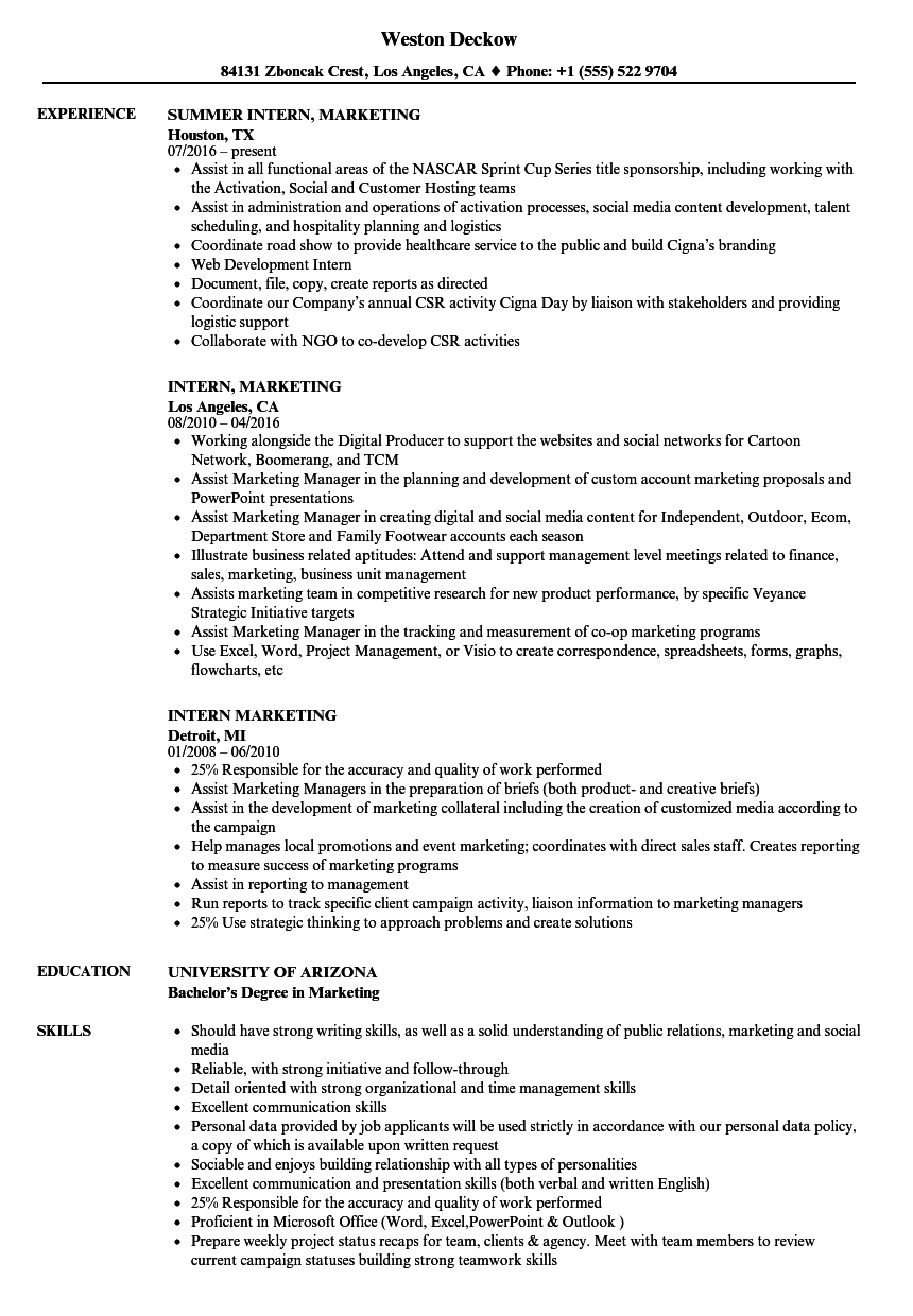 intern marketing resume samples