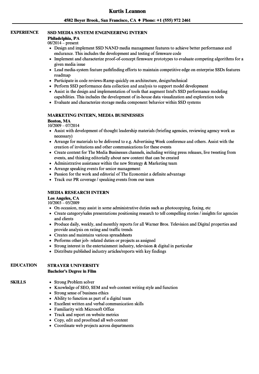 Intern Media Resume Samples Velvet Jobs