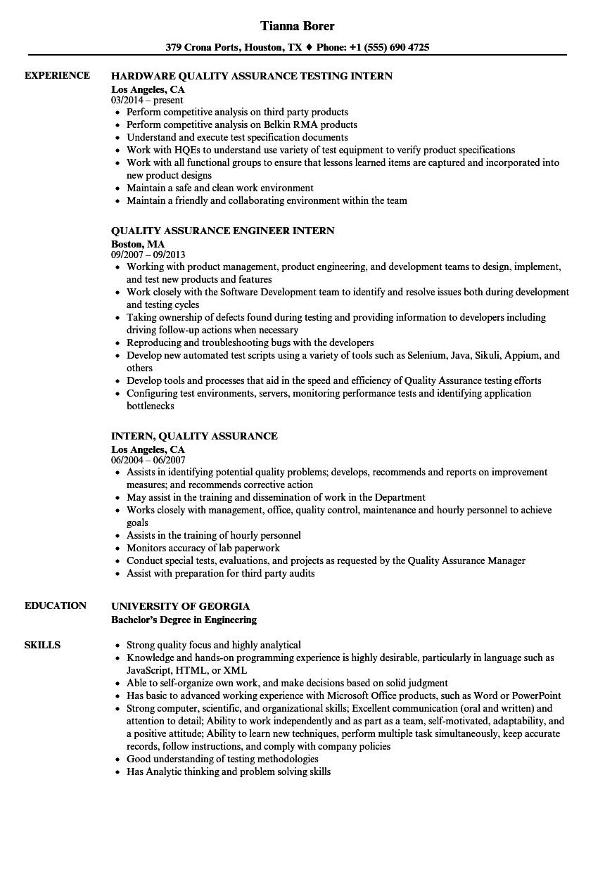 Intern, Quality Assurance Resume Samples | Velvet Jobs