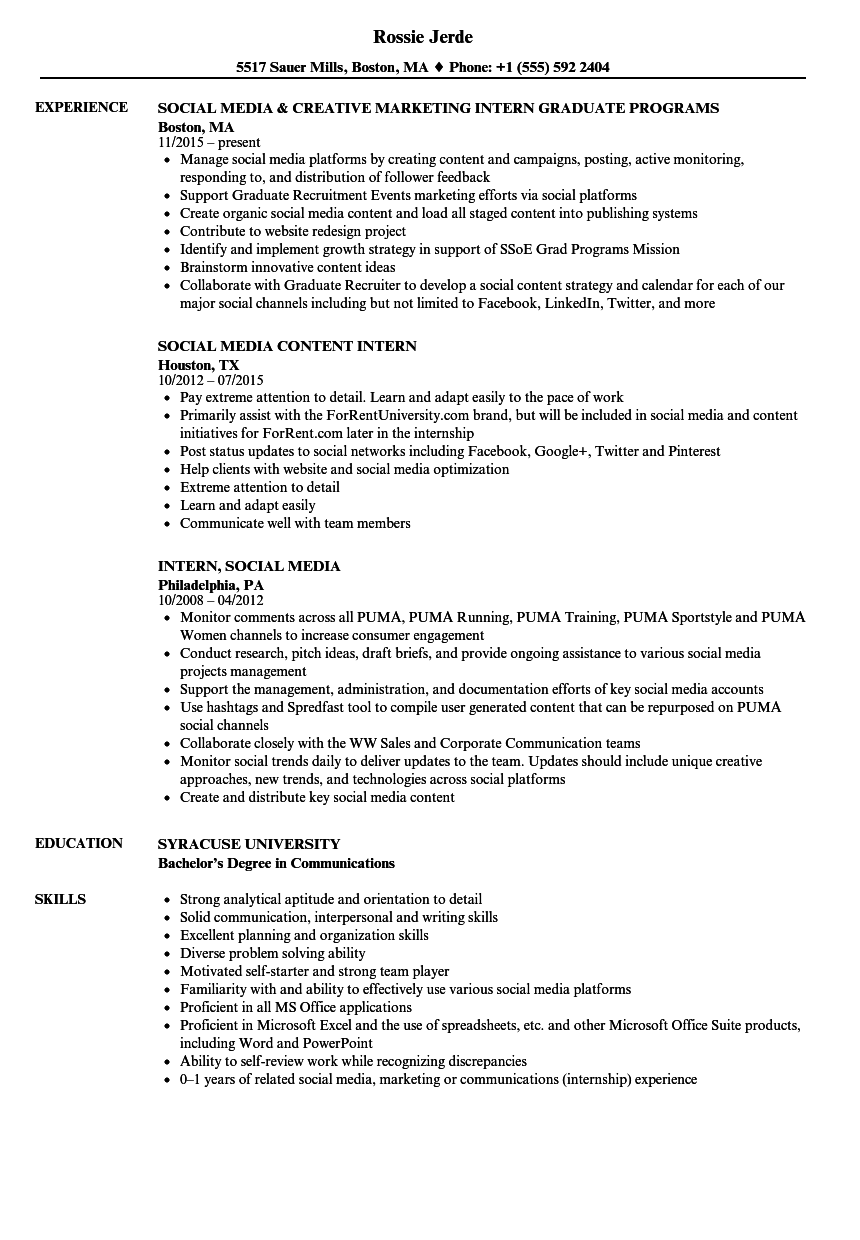 intern  social media resume samples
