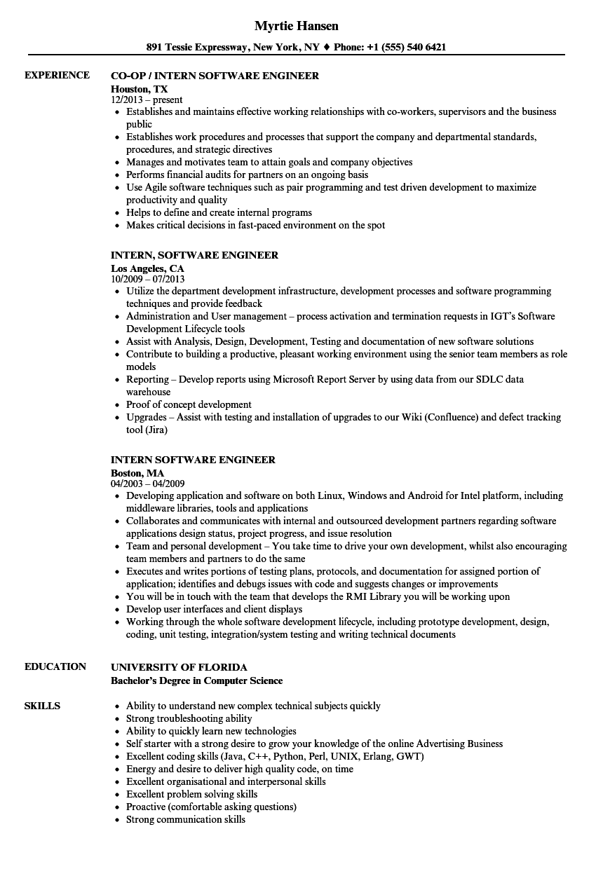 download intern software engineer resume sample as image file - Sample Software Engineer Resume