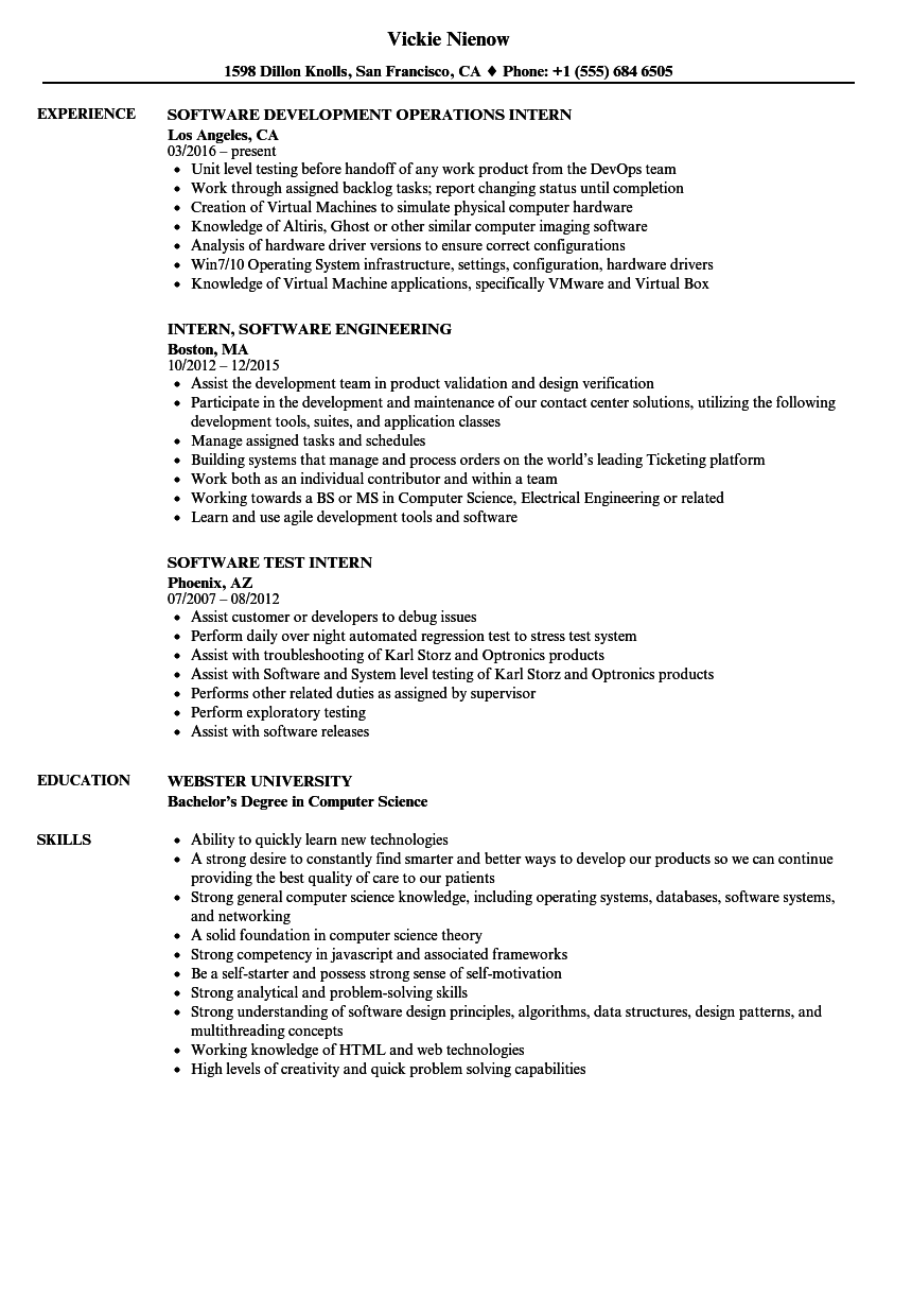Intern Software Resume Samples