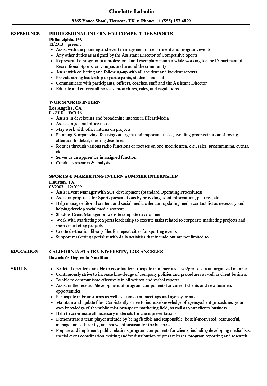 Download Intern Sports Resume Sample As Image File