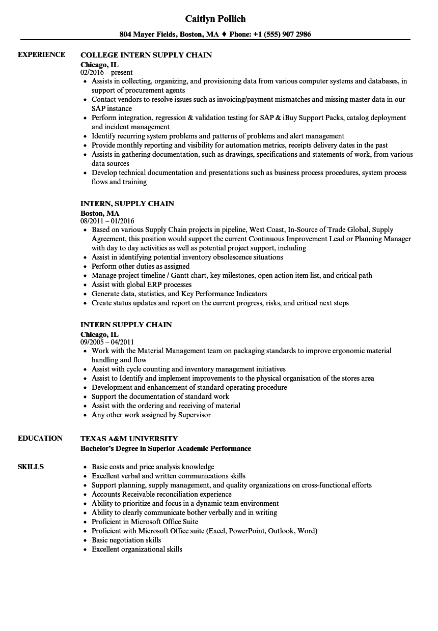 intern supply chain resume samples