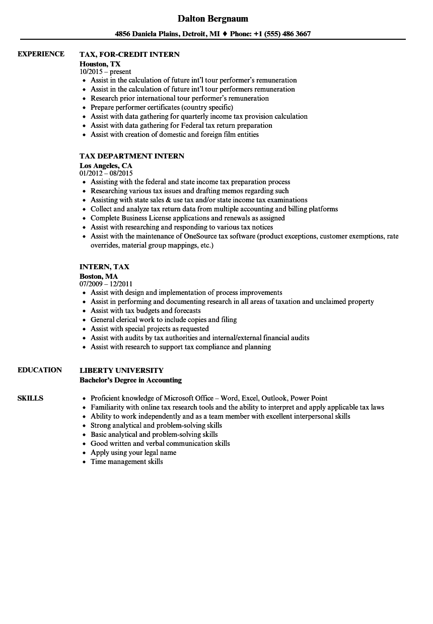 Intern, Tax Resume Samples | Velvet Jobs