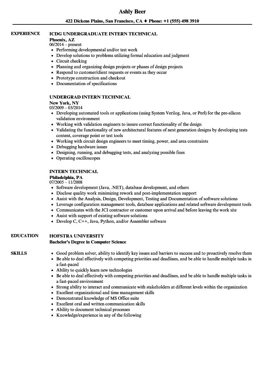 intern technical resume samples