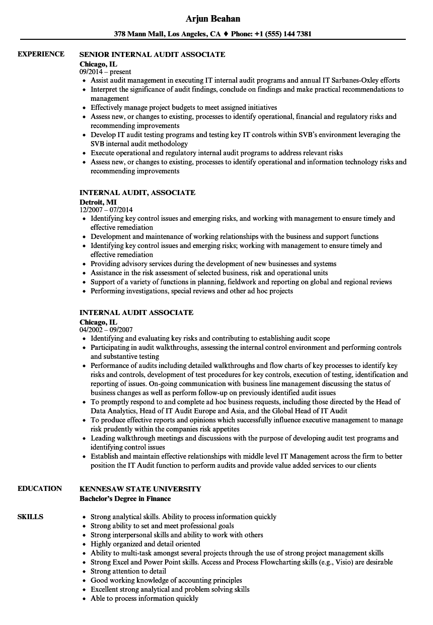 Internal Audit Associate Resume Sample As Image File