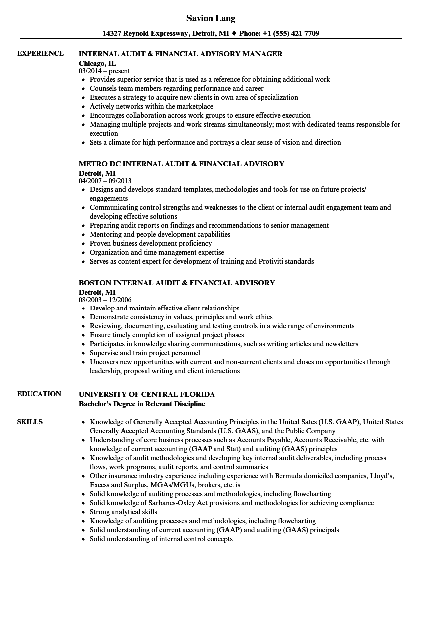 Download Internal Audit U0026 Financial Advisory Resume Sample As Image File