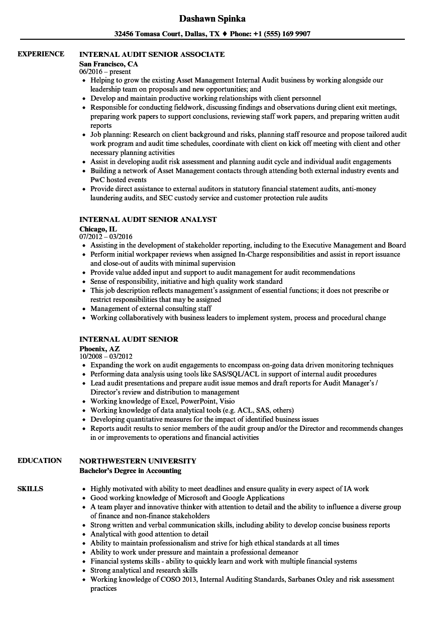 sample resume for internal auditor resume internal auditor resume