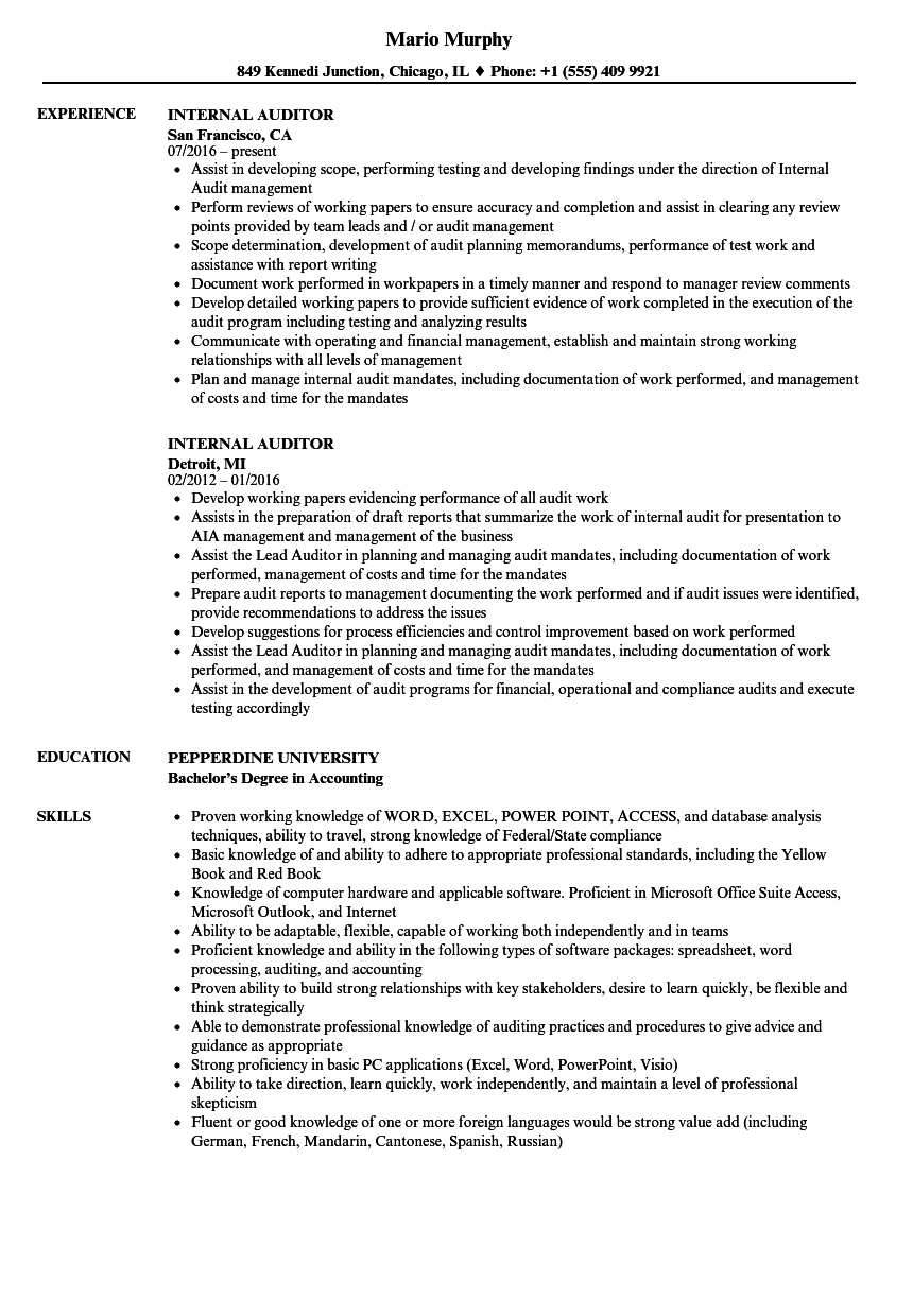 internal auditor resume samples velvet jobs
