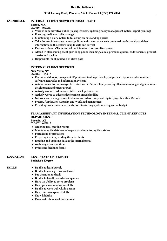Internal Client Services Resume Samples | Velvet Jobs