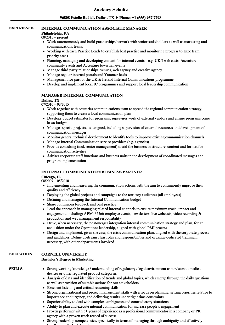 Download Internal Communication Resume Sample As Image File