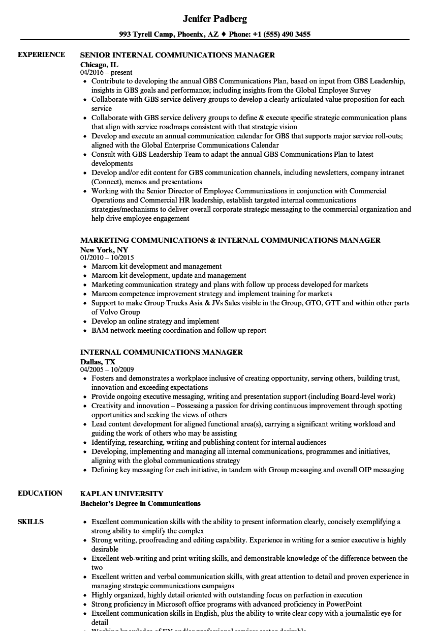 Internal Communications Manager Resume Samples | Velvet Jobs