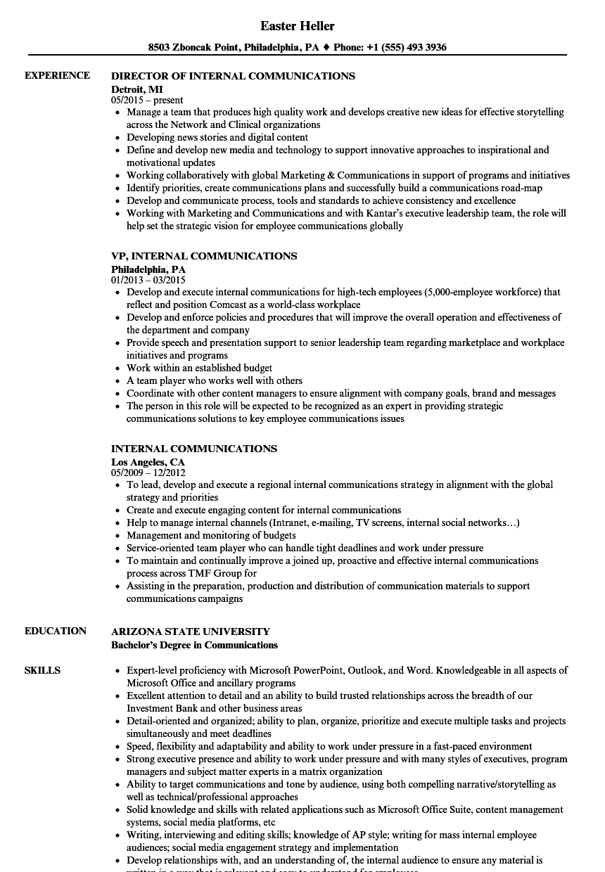 internal communications resume samples