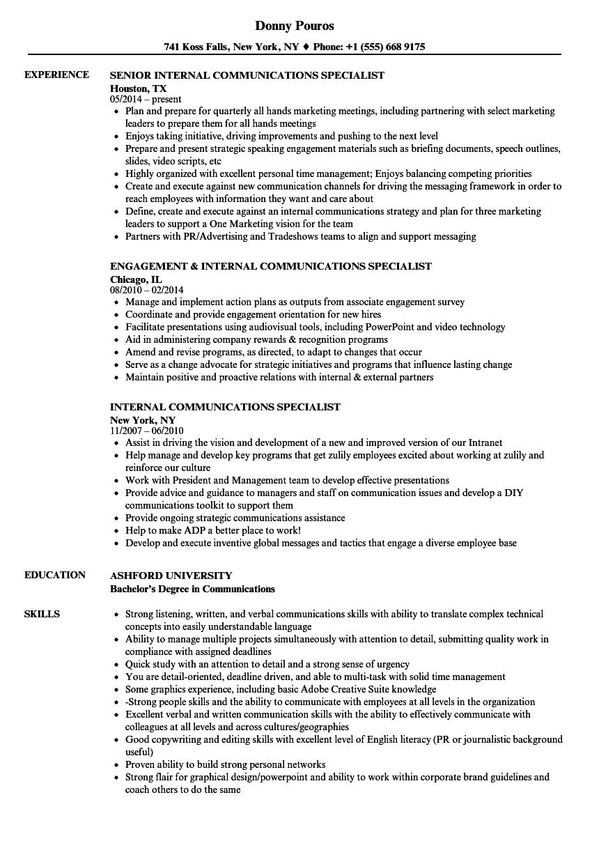 internal communications specialist resume samples velvet jobs