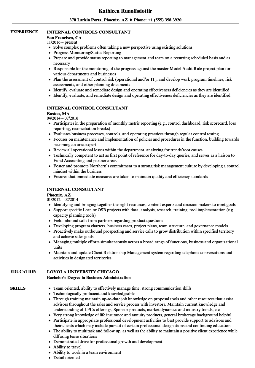 Internal Consultant Resume Samples | Velvet Jobs