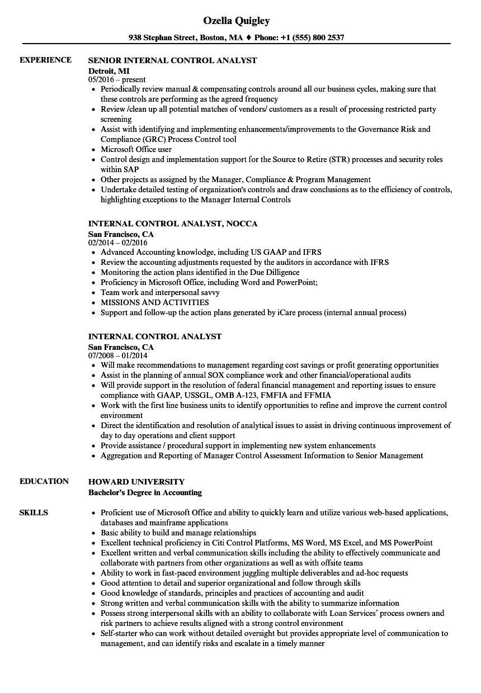 internal control analyst resume samples