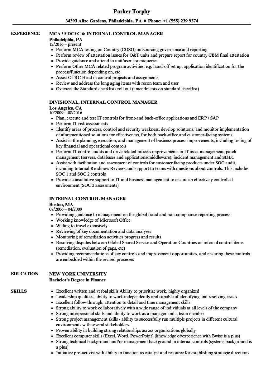 Internal Control Manager Resume Samples | Velvet Jobs