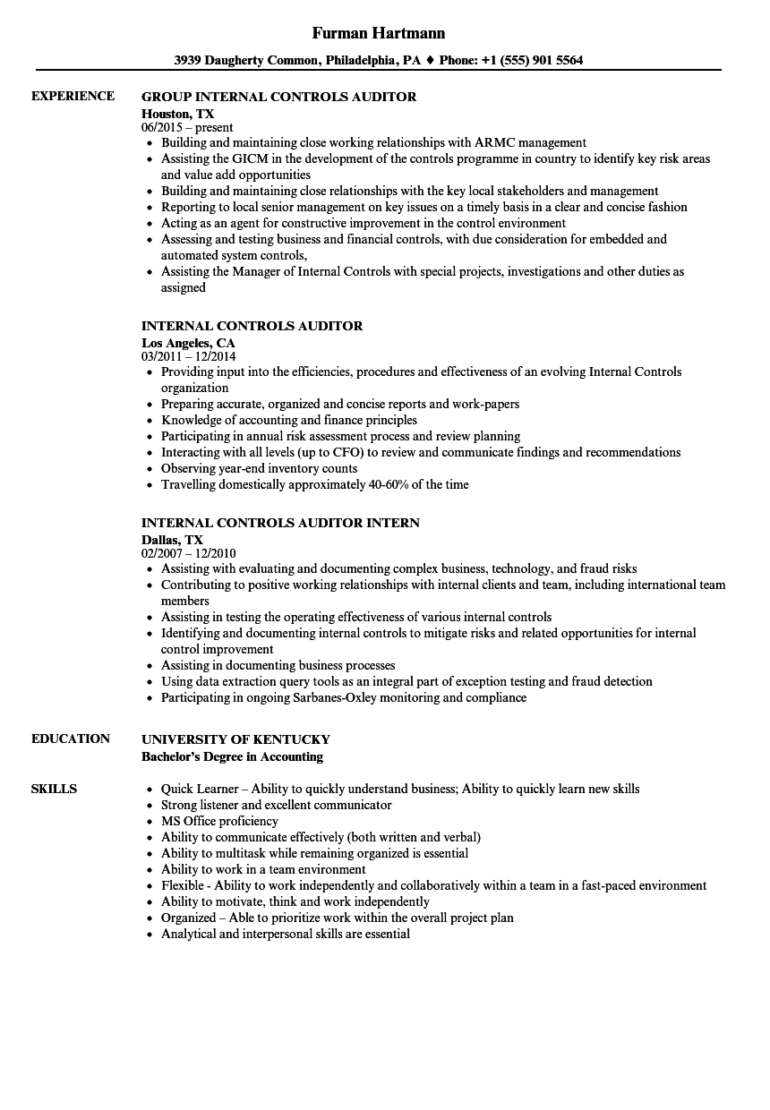 Internal Controls Auditor Resume Samples | Velvet Jobs