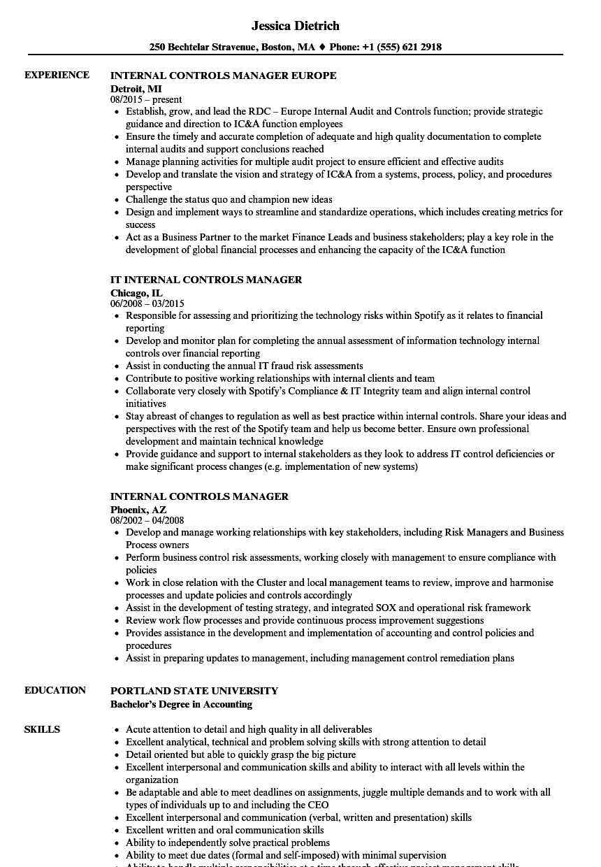internal controls manager resume samples