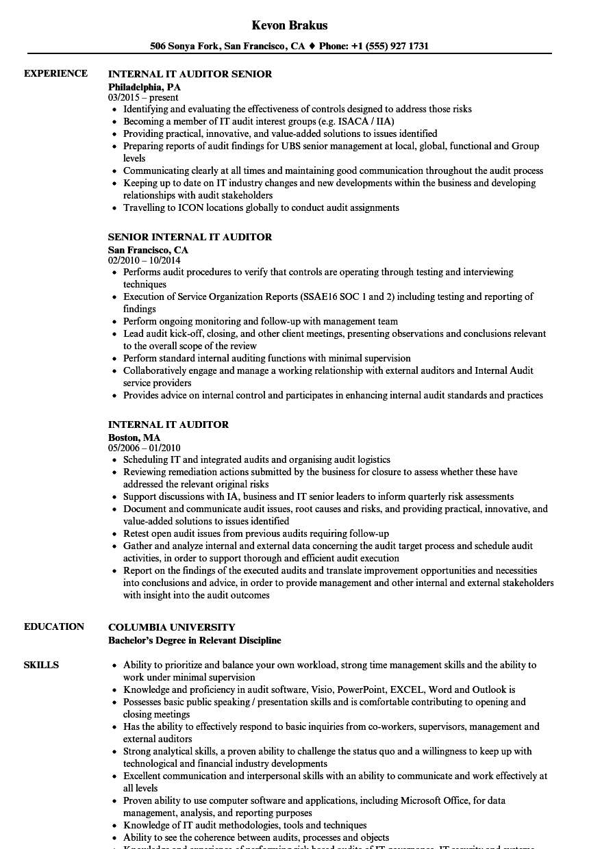 Internal IT Auditor Resume Samples | Velvet Jobs