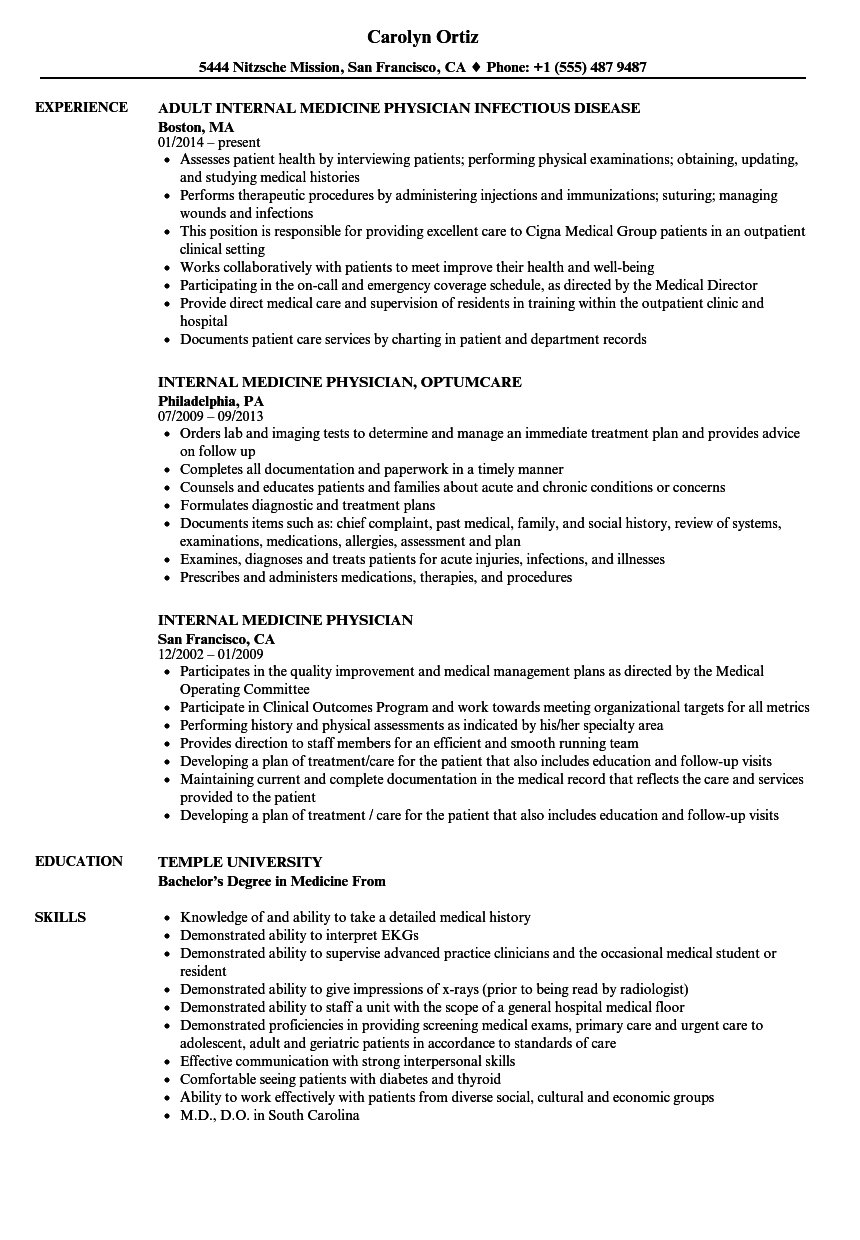 internal medicine physician resume samples