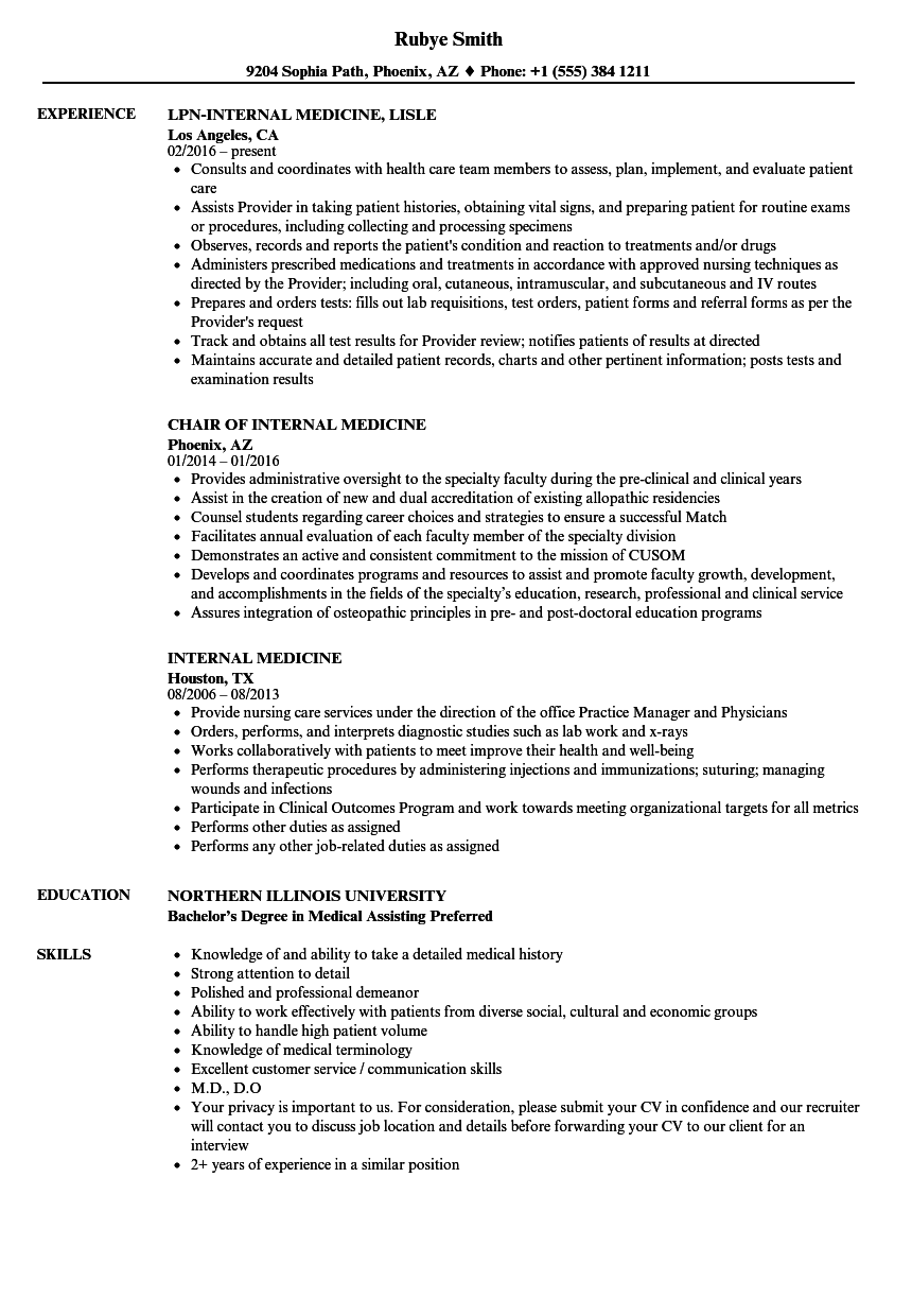 internal medicine resume samples velvet jobs