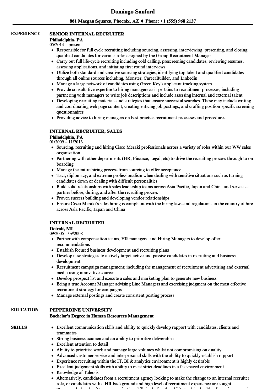 Internal Recruiter Resume Samples | Velvet Jobs