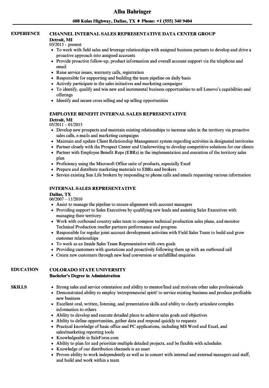 Internal Sales Representative Resume Samples Velvet Jobs