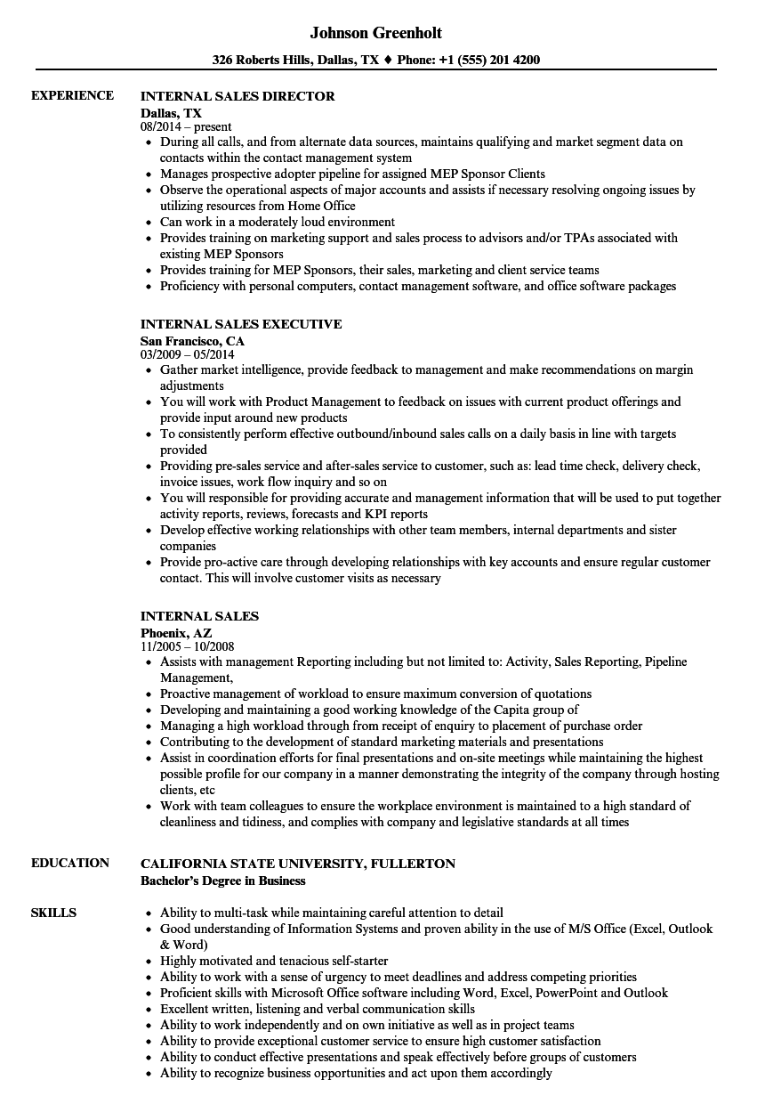 Internal Sales Resume Samples | Velvet Jobs