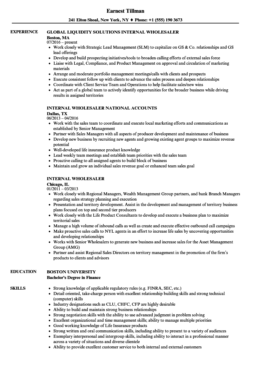 Internal Wholesaler Resume Samples | Velvet Jobs