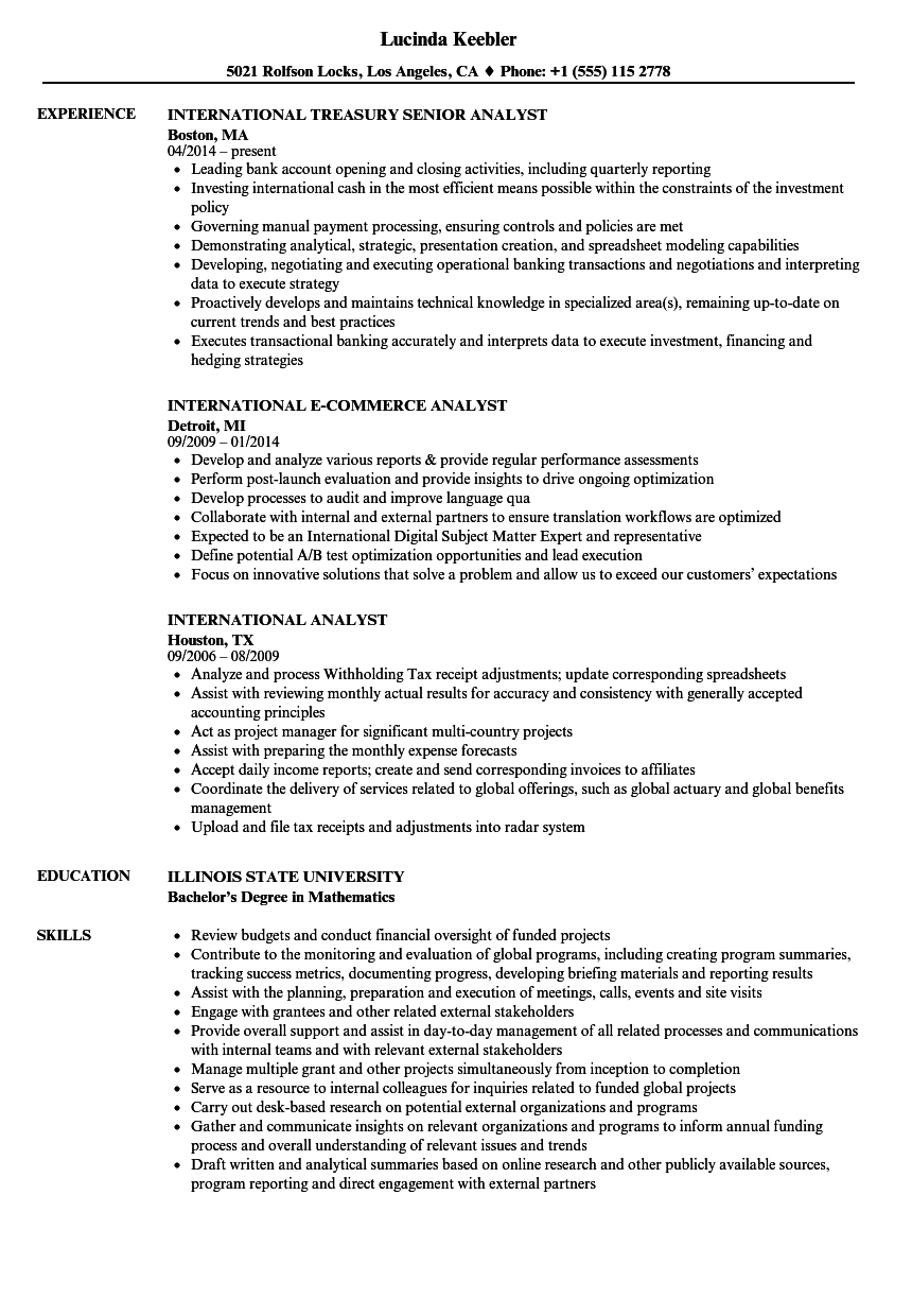 download international analyst resume sample as image file treasury analyst resume - Financial Analyst Resume Template