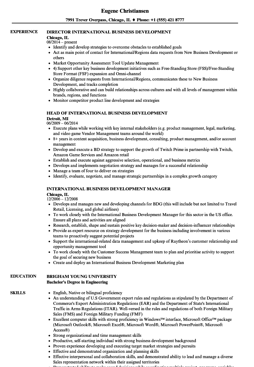 international business development resume samples velvet jobs