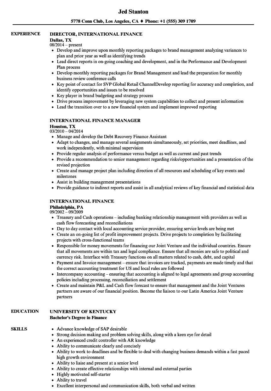 international finance resume samples  velvet jobs