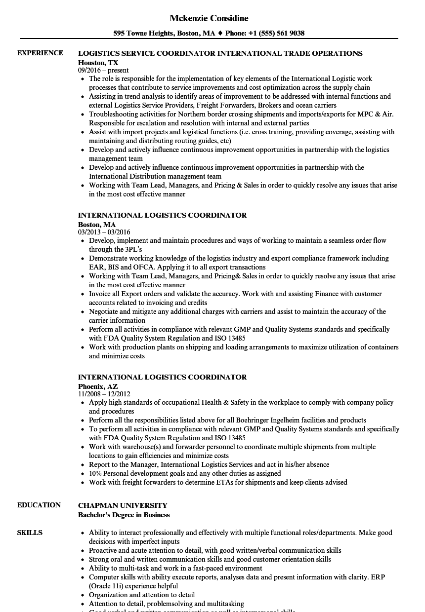 Download International Logistics Coordinator Resume Sample As Image File