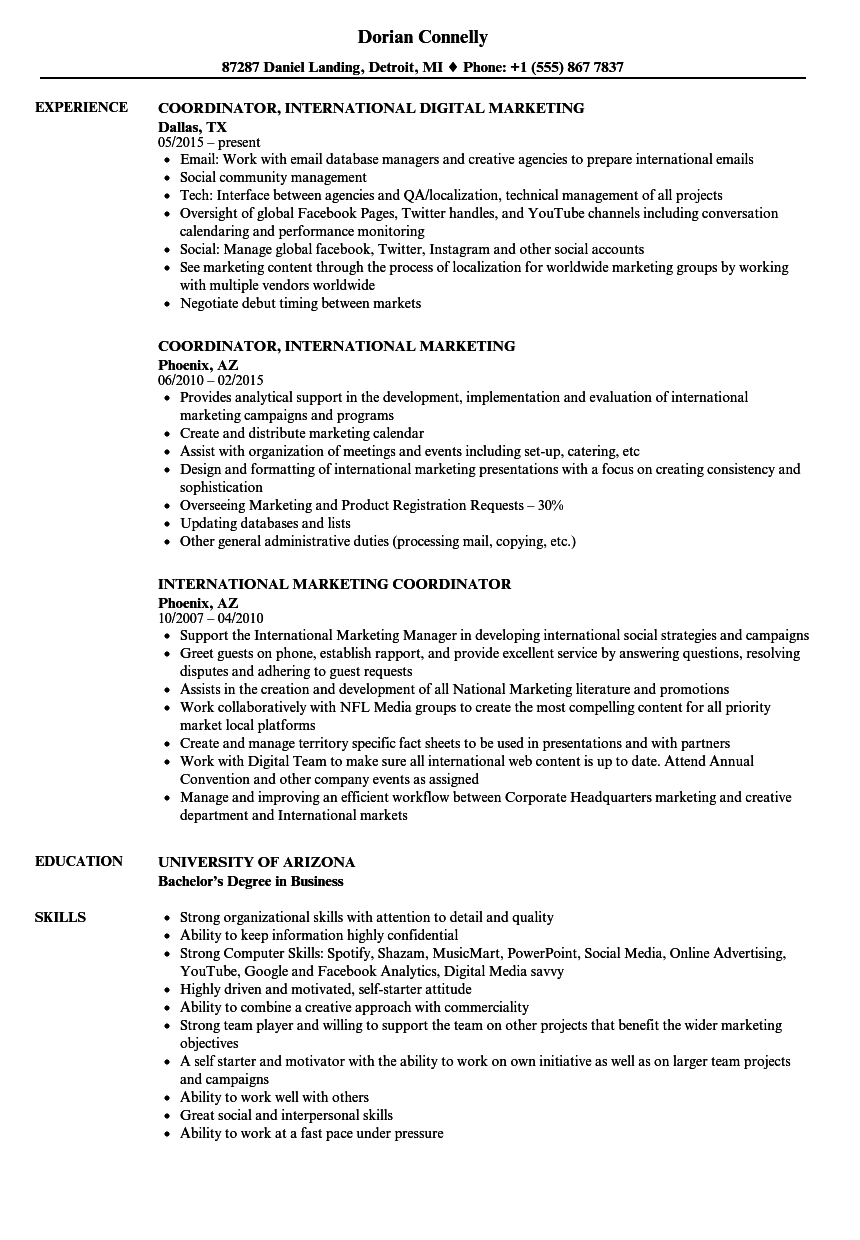 Download International Marketing Coordinator Resume Sample As Image File