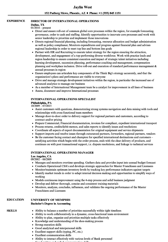 international operations resume samples