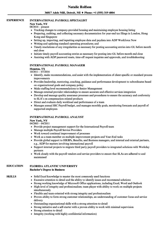 international payroll resume samples