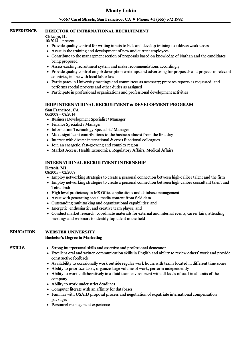 international recruitment resume samples