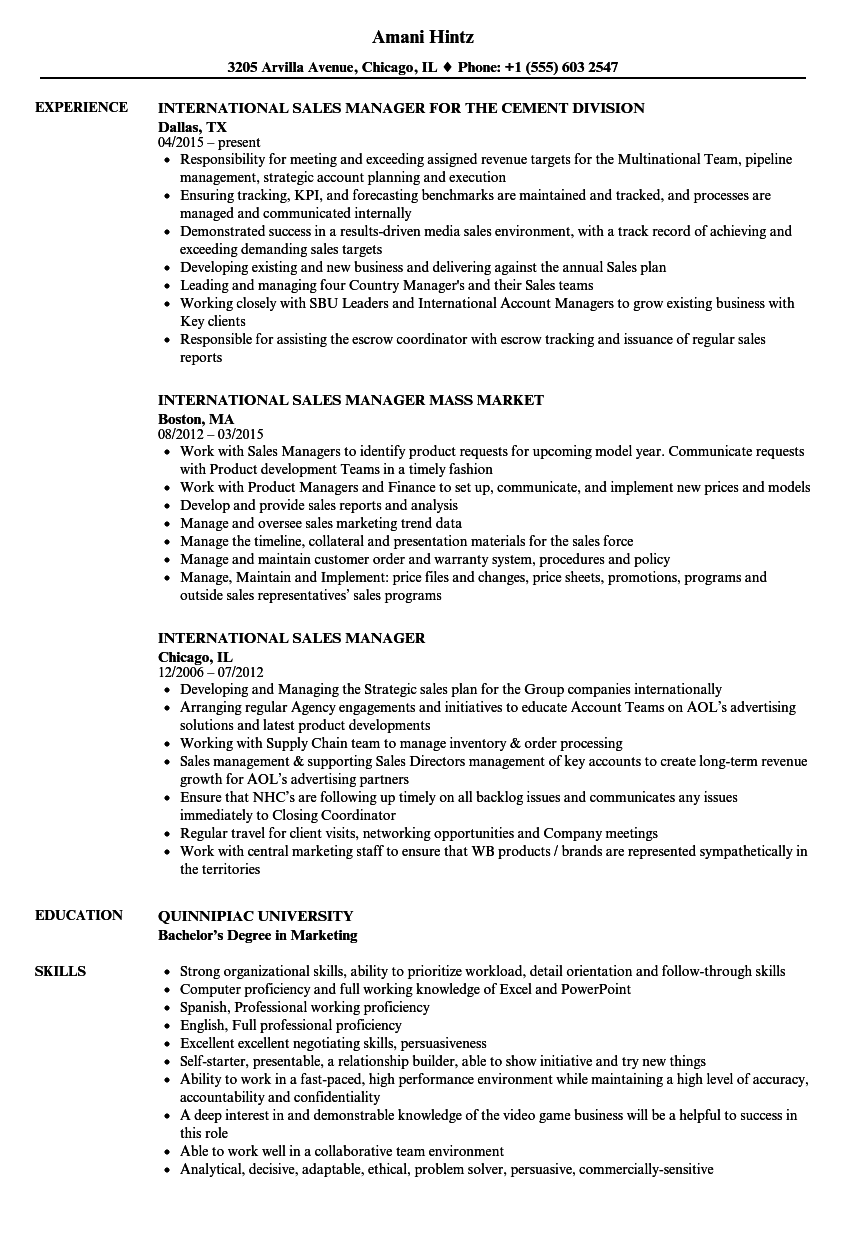 International Sales Manager Resume Samples Velvet Jobs