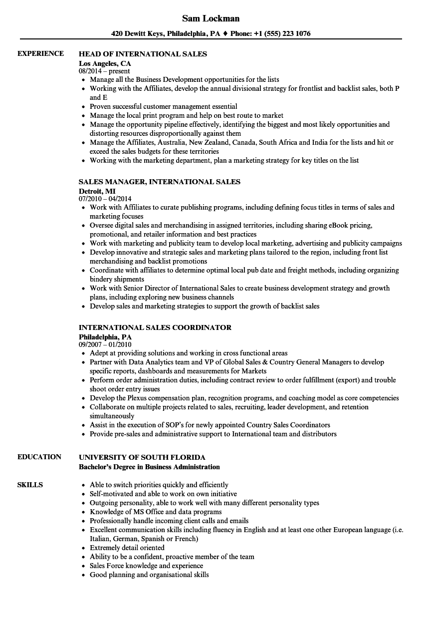 International Sales Resume Samples | Velvet Jobs